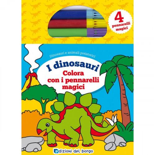 Libro colorare dinosauri pennarelli