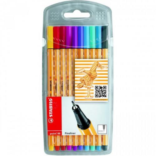 Penna stabilo point 88 colori ass. da 10