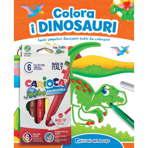 Libro colorare i dinosauri c/pennarelli