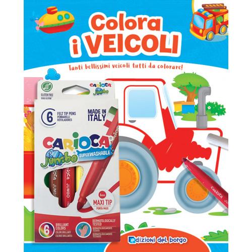Libro colorare i veicoli + pennarelli