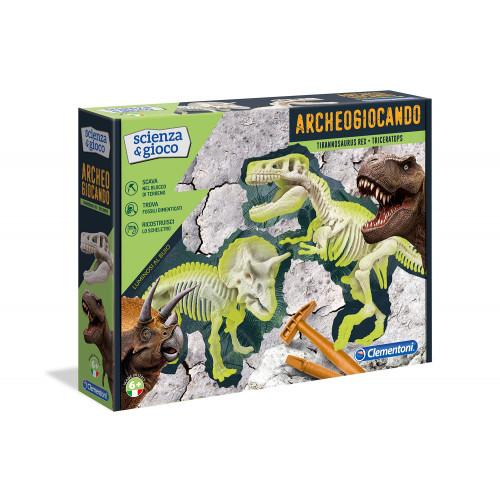 Archeogiocando T-rex e Triceratopo