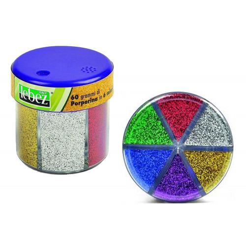 Barattolino dispenser di porporina (60 grammi) contenente 6 colori assortiti.