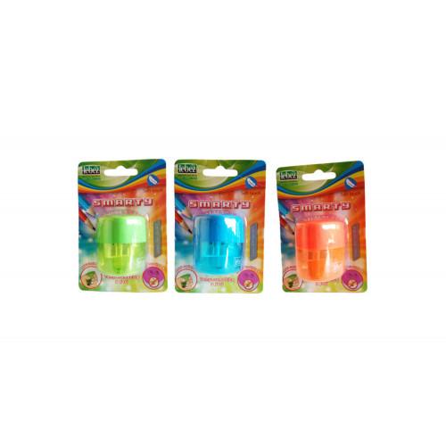 Temperino lebez 2 fori con contenitore neon, blisterato singolarmente.