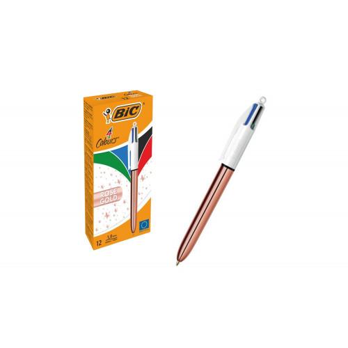 Penna bic 4 colori gold cf.12