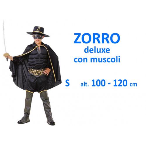 Zorro Deluxe con muscoli costume S