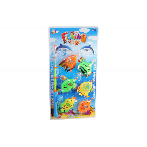 Canna da pesca con 6 pesci