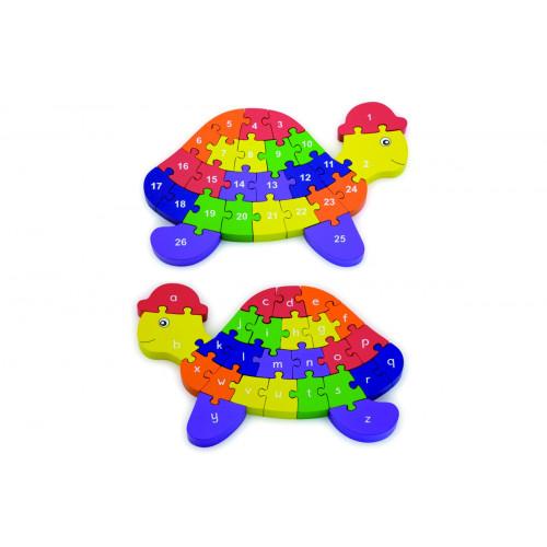 Tartaruga Puzzle con lettere e numeri in legno