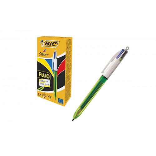 Bic Penna 4 Colori Cristal Fluo 12 pezzi