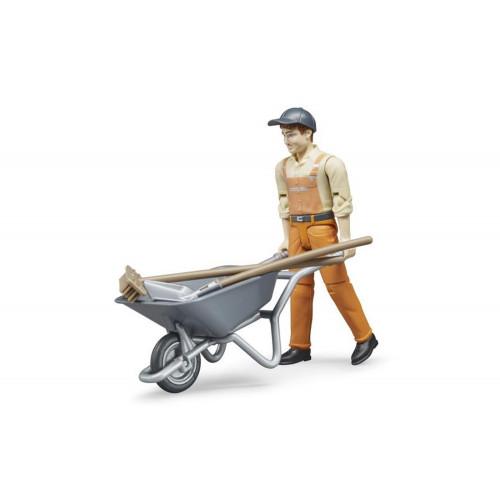 Operatore Ecologico con carriola e accessori Bruder