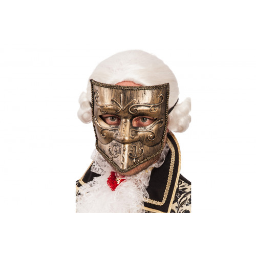 Maschera in oro con bautta in plastica Carnival Toys