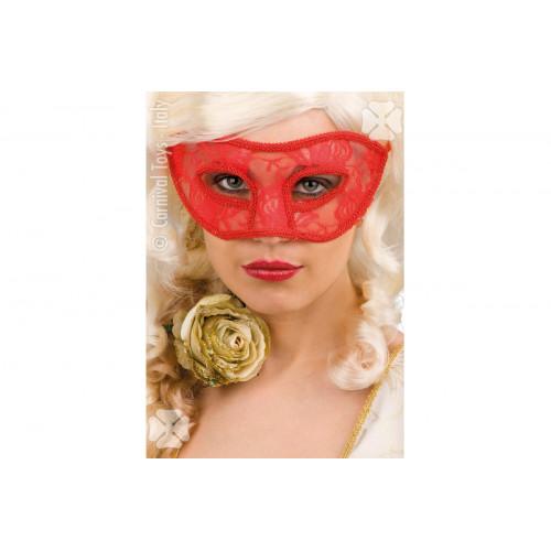 Maschera in plastica con pizzo rosso Carnival Toys