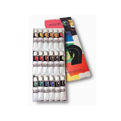 Set 18 colori acrilici da 12 ml