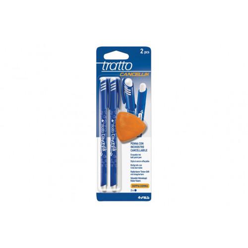 Penna Tratto Cancellik Blu con gomma 2 pezzi