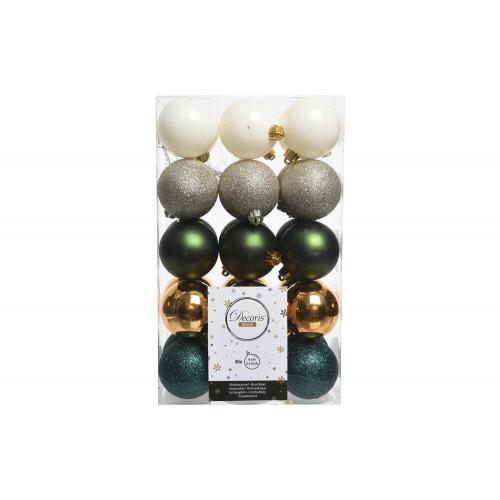 Set 30 Palline di Natale 6 cm Verde-Bianco-Argento-Oro