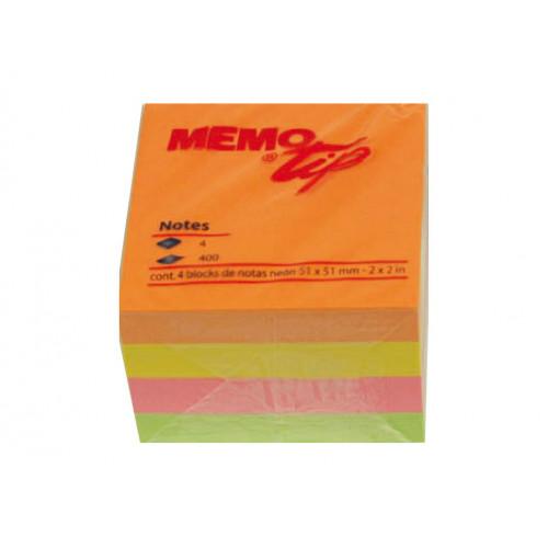 Memo stick cubo adesivo 51x51 400 fogli neon