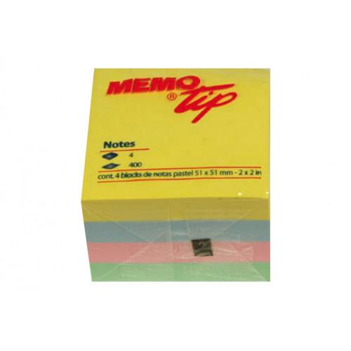 Memo stick cubo 51x51mm colori pastello
