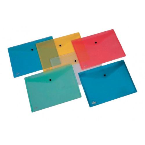 Busta con bottone A4 5 pezzi colori assortiti