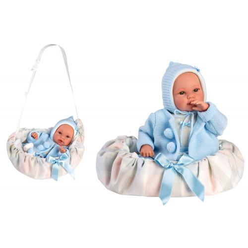 Bebe' con Porta Enfants azzurro 36 cm