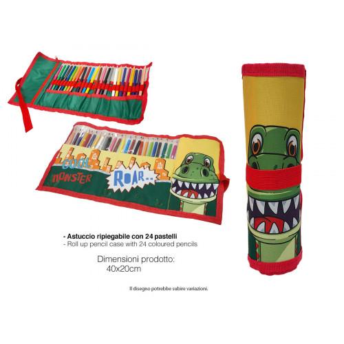 Astuccio Roll 24 pastelli Dinosauri
