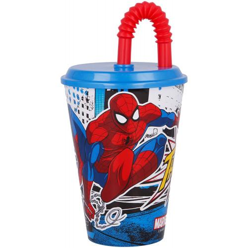 Bicchiere con cannuccia 430ml Spider-Man