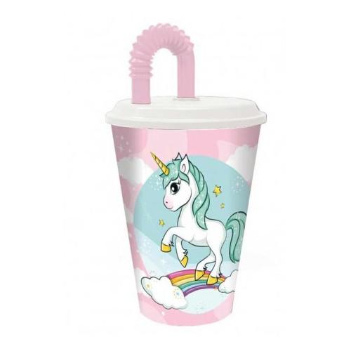 Bicchiere con cannuccia 430ml Unicorno
